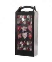 Kleine kerstboom ballen rood wit