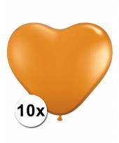 Kleine oranje hartjes ballonnen 10 stuks