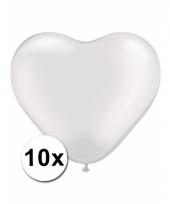 Kleine witte hartjes ballonnen 10 stuks