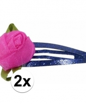 Klikklak speldjes blauw glitter met roos