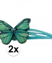 Klikklak speldjes blauw met houten vlinder
