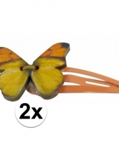 Klikklak speldjes oranje met houten vlinder