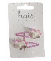 Klikklak speldjes roze met glitter eenhoorn