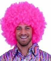 Knal roze clowns pruiken