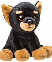 Knuffel doberman pup zwart bruin 14 cm knuffels kopen