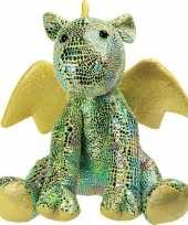 Knuffel draak groen met glitters 23 cm knuffels kopen