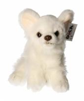 Knuffel hondje witte chihuahua 17 cm