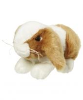 Knuffel konijn bruin wit 18 cm