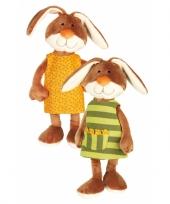Knuffel konijn met jurkje 40 cm