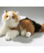 Knuffel liggende gevlekte kat 30 cm