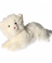 Knuffel liggende kat wit 25 cm