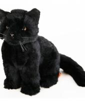Knuffel poes zwart liggend 20 cm 10065834