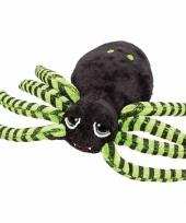 Knuffel spinnetje zwart groen 14 cm