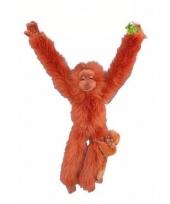 Knuffelbeest oran oetan met jong 44 cm