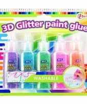 Knutselspullen kleurlijm met glitters
