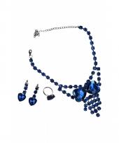 Kobalt blauw sieradenset 3 delig
