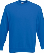 Kobalt blauwe fruit of the loom sweater ronde hals