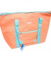 Koel tas zalmroze met blauw 45 liter