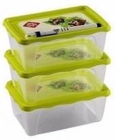Koelkast bakjes 1 liter 3 stuks groen deksel