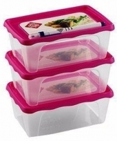 Koelkast bakjes 1 liter 3 stuks roze deksel