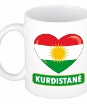 Koerdische vlag hart mok beker 300 ml