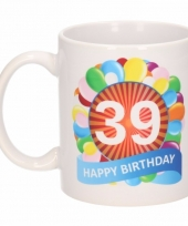 Koffiemok ballon thema 39 jaar 300 ml
