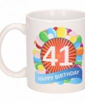 Koffiemok ballon thema 41 jaar 300 ml