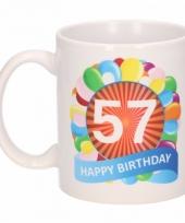 Koffiemok ballon thema 57 jaar 300 ml