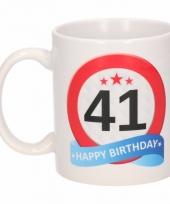 Koffiemok verkeersbord thema 41 jaar 300 ml