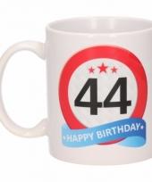 Koffiemok verkeersbord thema 44 jaar 300 ml