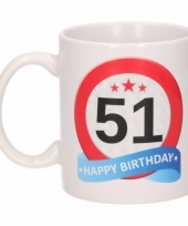 Koffiemok verkeersbord thema 51 jaar 300 ml