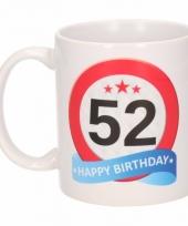 Koffiemok verkeersbord thema 52 jaar 300 ml