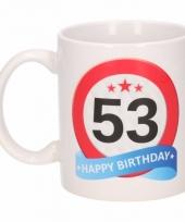 Koffiemok verkeersbord thema 53 jaar 300 ml