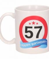Koffiemok verkeersbord thema 57 jaar 300 ml