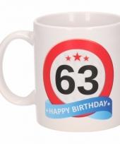 Koffiemok verkeersbord thema 63 jaar 300 ml