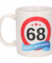 Koffiemok verkeersbord thema 68 jaar 300 ml