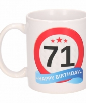 Koffiemok verkeersbord thema 71 jaar 300 ml