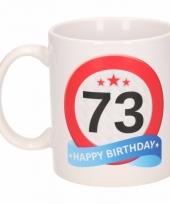 Koffiemok verkeersbord thema 73 jaar 300 ml