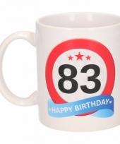 Koffiemok verkeersbord thema 83 jaar 300 ml