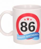 Koffiemok verkeersbord thema 86 jaar 300 ml