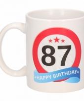 Koffiemok verkeersbord thema 87 jaar 300 ml