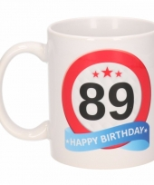 Koffiemok verkeersbord thema 89 jaar 300 ml