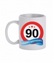 Koffiemok verkeersbord thema 90 jaar 300 ml