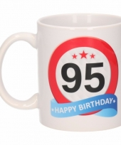 Koffiemok verkeersbord thema 95 jaar 300 ml