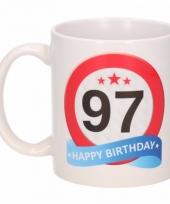 Koffiemok verkeersbord thema 97 jaar 300 ml