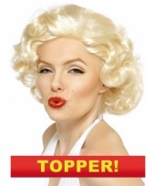 Korte blonde pruik met krullen 10049653
