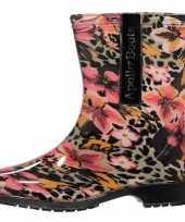 Korte dames regenlaars met luipaard bloemenprint