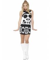 Korte zwart met witte hippie jurk