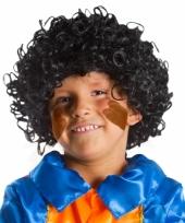 Krulletjes pruik zwart voor kids