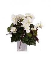 Kunstbloem witte begonia 30 cm